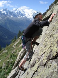 Anna on a climb with Mt Blanc in the background.          Photo: Andreas Bengtsson