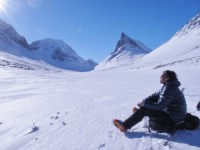 A nice rest on the way back to the Nallo hut. Ski touring Kebnekaise 5 April 2011 Photo: Magnus Strand