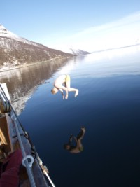 A swim is the fjord is nice after a day ski touring. Photo: Andreas Bengtsson
