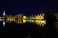 Tromso harbor at night. Photo: Andreas Bengtsson