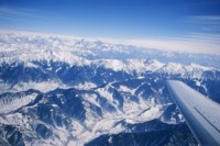The airplane view of the Great Himalaya Range flying into Srinagar.    Photo: Ptor Spricenieks, skiherenow@yahoo.com