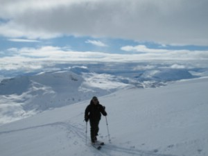 On the way up Spanstind. Arctic Combo week April 2012. Photo: Magnus Strand