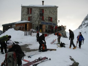 Morning preparations for the ski touring day ahead at the Dix Refuge. Photo: �Lisa Auer