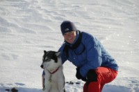 Fredrik Adams with one of the dogs. 5th April 2010. Photo: Magnus Strand