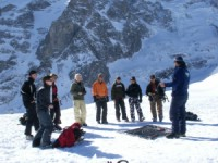 Team building activity, learn how to use avalanche transceiver.