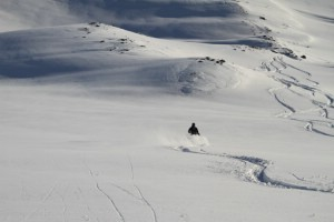 Powder skiing, Heliski in Sweden. Photo: Andreas Bengtsson
